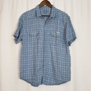 Lucky Brand Linen Pearl Button Down Shirt Large